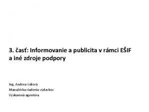 3 as Informovanie a publicita v rmci EIF