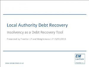 Local Authority Debt Recovery Insolvency as a Debt