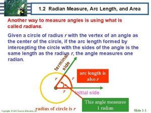 1 2 Radian Measure Arc Length and Area