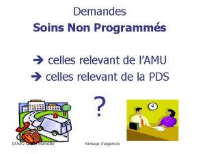 Demandes Soins Non Programms celles relevant de lAMU