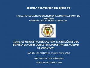 ESCUELA POLITCNICA DEL EJRCITO FACULTAD DE CIENCIAS ECONMICAS