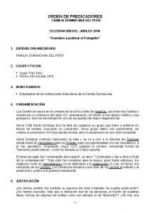 ORDEN DE PREDICADORES FAMILIA DOMINICANA DEL PER CELEBRACIN