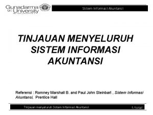 Sistem Informasi Akuntansi TINJAUAN MENYELURUH SISTEM INFORMASI AKUNTANSI