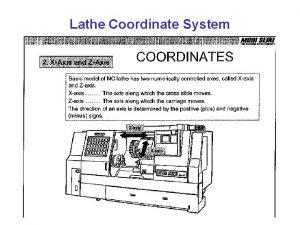 Lathe Coordinate System Workpiece Zero Point Coordinate system