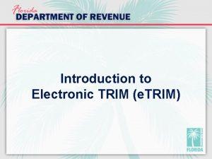 Introduction to Electronic TRIM e TRIM e TRIM