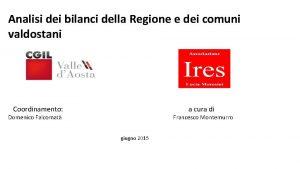 Analisi dei bilanci della Regione e dei comuni