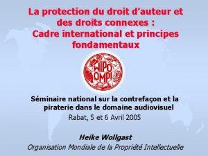 La protection du droit dauteur et des droits