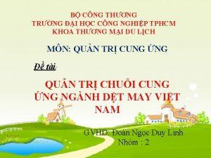 B CNG THNG TRNG I HC CNG NGHIP