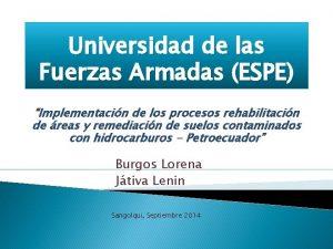 Universidad de las Fuerzas Armadas ESPE Implementacin de