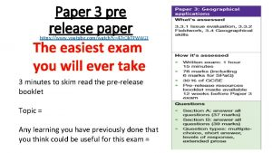 Paper 3 pre release paper The easiest exam