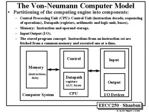 The VonNeumann Computer Model Partitioning of the computing