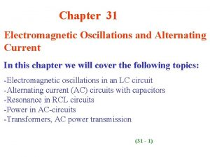 Chapter 31 Electromagnetic Oscillations and Alternating Current In