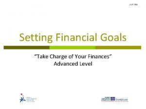 1 17 3 G 1 Setting Financial Goals