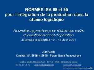 NORMES ISA 88 et 95 pour lintgration de