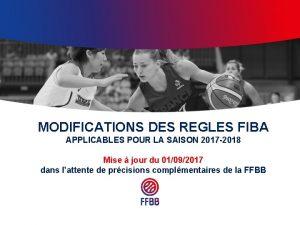 MODIFICATIONS DES REGLES FIBA APPLICABLES POUR LA SAISON