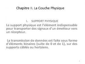 Chapitre II La Couche Physique I SUPPORT PHYSIQUE