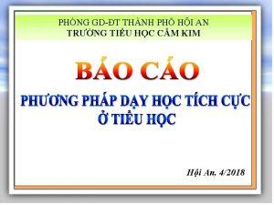 PHNG GDT THNH PH HI AN TRNG TIU