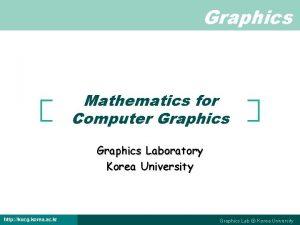 Graphics Mathematics for Computer Graphics Laboratory Korea University