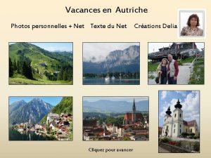 Vacances en Autriche Photos personnelles Net Texte du