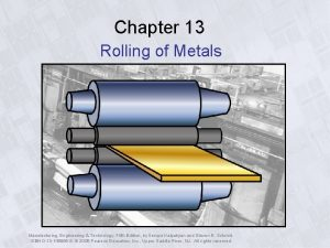 Chapter 13 Rolling of Metals Manufacturing Engineering Technology