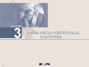 3 LANALYSE DU PORTEFEUILLE DACTIVITES Chapitre 3 Lanalyse