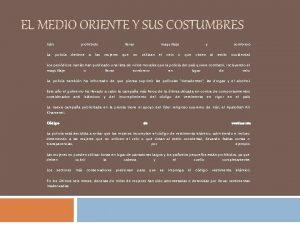 EL MEDIO ORIENTE Y SUS COSTUMBRES Irn La