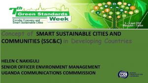 Concept of SMART SUSTAINABLE CITIES AND COMMUNITIES SSCC