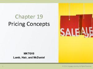 Chapter 19 Pricing Concepts MKTG 10 Lamb Hair