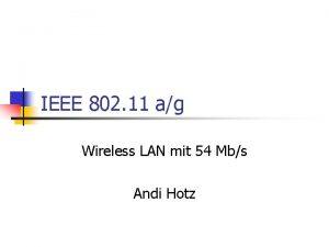 IEEE 802 11 ag Wireless LAN mit 54