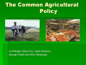 The Common Agricultural Policy Jo Eldridge Alison Fox