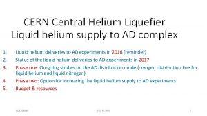 CERN Central Helium Liquefier Liquid helium supply to