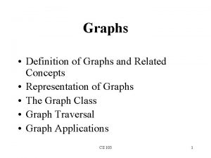 Graphs Definition of Graphs and Related Concepts Representation