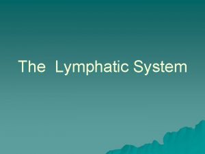 The Lymphatic System What Is the Lymphatic System