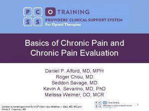 Basics of Chronic Pain and Chronic Pain Evaluation