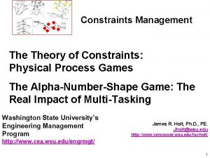 Constraints Management Theory of Constraints Physical Process Games