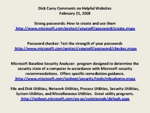 Dick Curry Comments on Helpful Websites February 21