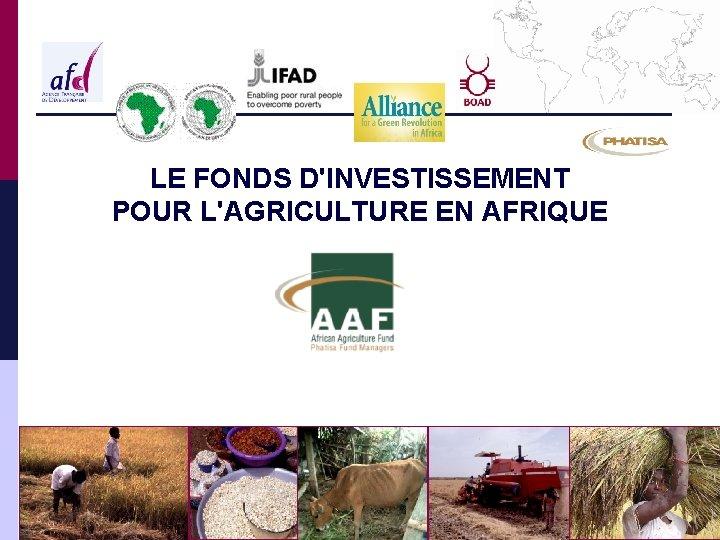 LE FONDS DINVESTISSEMENT POUR LAGRICULTURE EN AFRIQUE FONDS