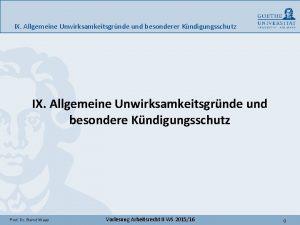 IX Allgemeine Unwirksamkeitsgrnde und besonderer Kndigungsschutz IX Allgemeine