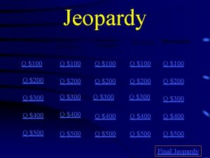 Jeopardy Photosynthesis Cellular Respiration Photosynthesis vs Respiration Chloroplasts