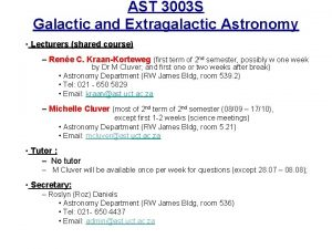 AST 3003 S Galactic and Extragalactic Astronomy Lecturers