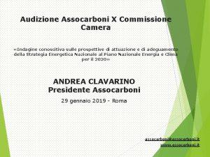 Audizione Assocarboni X Commissione Camera Indagine conoscitiva sulle