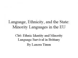 Language Ethnicity and the State Minority Languages in