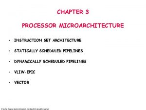 CHAPTER 3 PROCESSOR MICROARCHITECTURE INSTRUCTION SET ARCHITECTURE STATICALLY