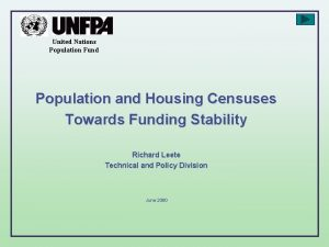 United Nations Population Fund Population and Housing Censuses
