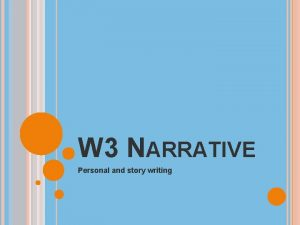 W 3 NARRATIVE Personal and story writing NARRATIVE