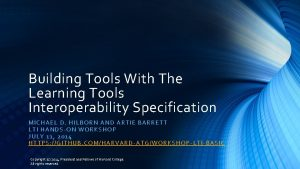 Building Tools With The Learning Tools Interoperability Specification