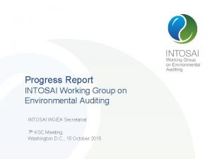 Progress Report INTOSAI Working Group on Environmental Auditing