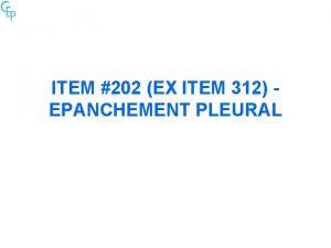 ITEM 202 EX ITEM 312 EPANCHEMENT PLEURAL Tableau
