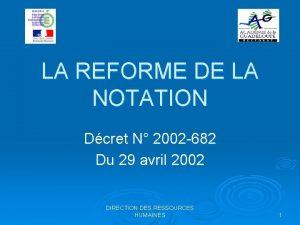 LA REFORME DE LA NOTATION Dcret N 2002