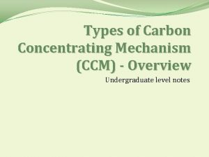 Types of Carbon Concentrating Mechanism CCM Overview Undergraduate